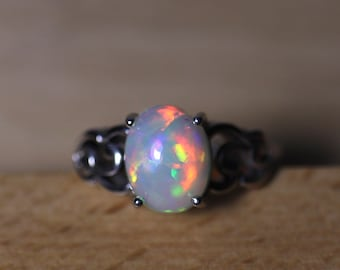 Ethiopian fire opal ring, natural opal jewelry, genuine opal silver ring, rainbow fire solid opal, vintage opal ring, gift for her, opal