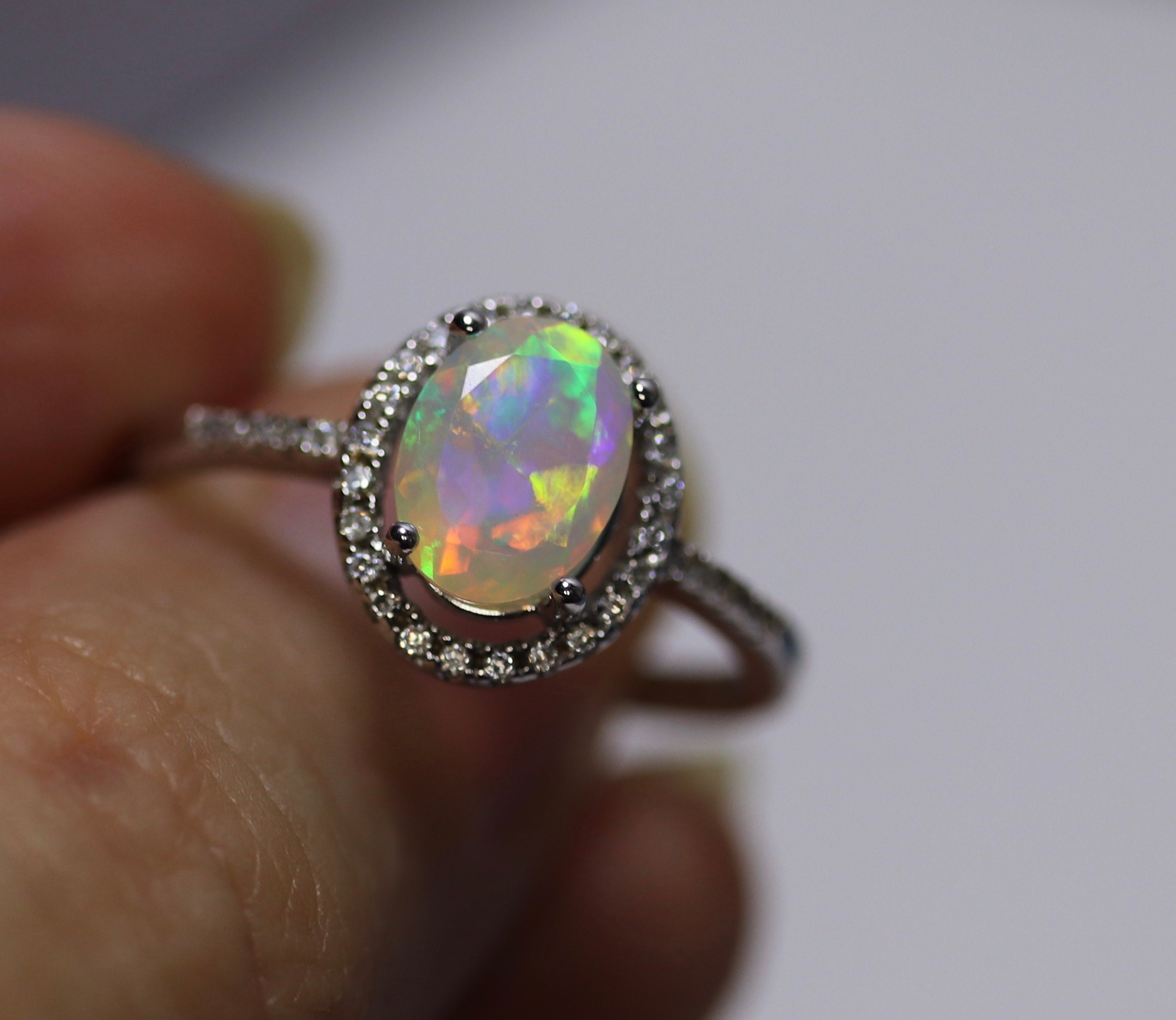 Halo Opal Ring, Engagement Ring, Fire Opal Ring, Rainbow