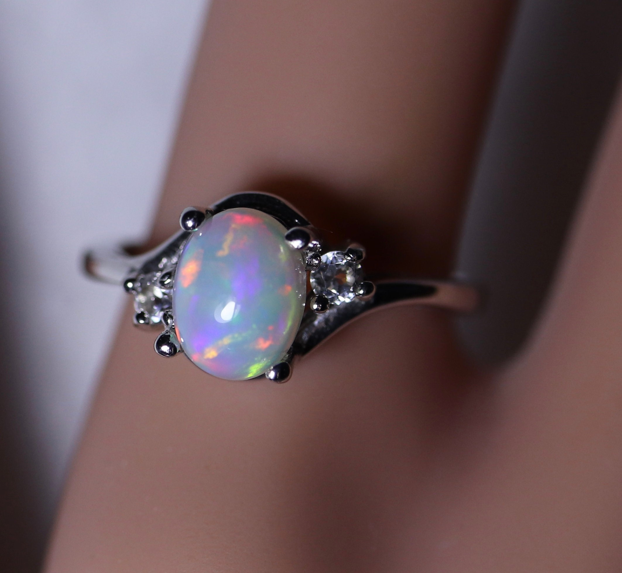 opal ring rainbow opal rings for women gift for her etsy. Black Bedroom Furniture Sets. Home Design Ideas