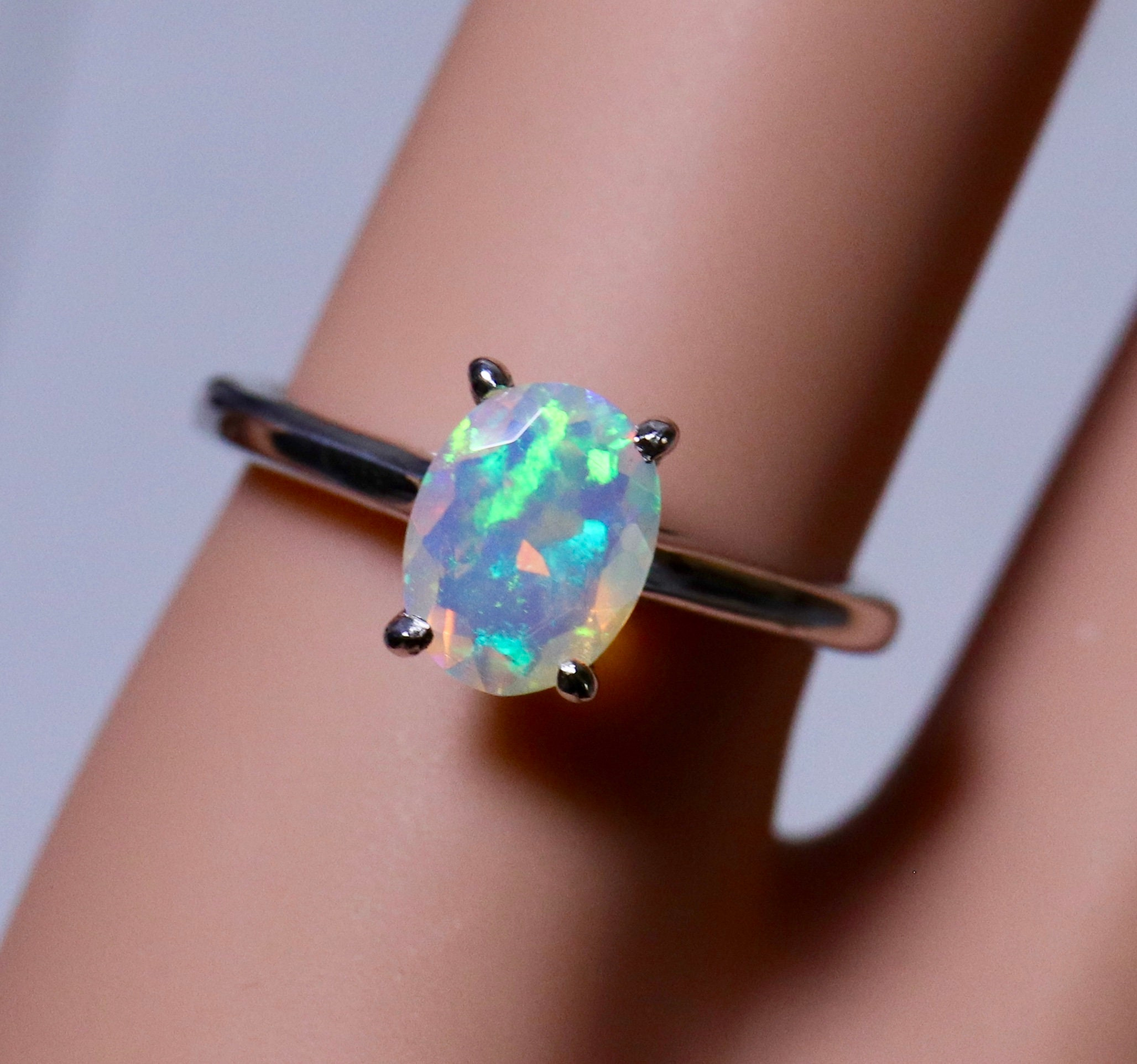 Fire opal ring, gold opal ring, opal engagement ring, gold wedding ...