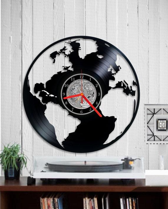 Clock World Map.World Map Vinyl Clock Wall Clock World Map Clock Vinyl Clock Etsy