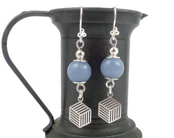 Angelite, graphic charms beads, blue Sterling Silver earrings