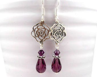 Earrings silver, glass, Swarovski Crystal plum prints form of romantic roses