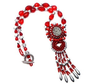 Designer silver red agate druzy Bohemian glass embroidered pendant necklace