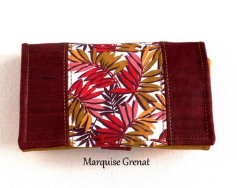 Companion vegan wallet in burgundy cork and yellow saffron cotton foliage coated