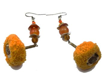pompoms,jade glass and brass agate Ethnic bohemian earrings yellow orange bronze