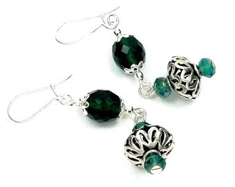 Earrings, silver, emerald green glass, boho chic