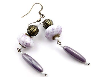 Bohemian earrings brass bronze, purple and white glass beads
