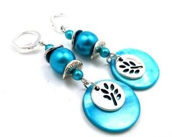 Earrings turquoise boho beads silver glass Pearl brass