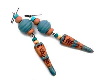 Earrings ethnic tribal blue turquoise, orange, grey