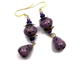 Boho ceramic purple blue glass brass earrings