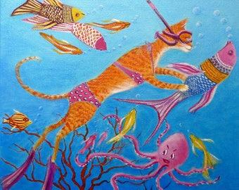 Cat portrait diving snorkeling, original oil painting