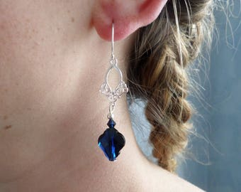 Earrings in silver and indigo blue Swarovski Crystal, Baroque