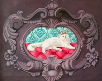 Portrait of white angora cat in purple baroque frame in trompe l'oeil, oil painting Her majesty