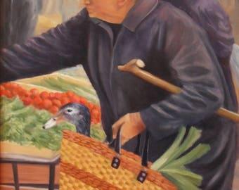 Portrait market scene, leeks, original painting Duck oil