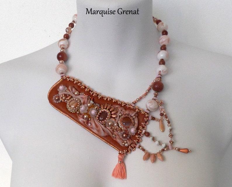nude Cognac leather gem stone Asymmetrical necklace Embroidered silk shibori Ribbon