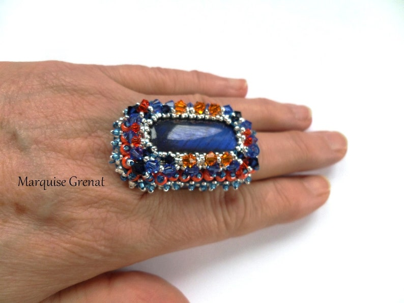 Adjustable designer embroidered rectangular ring in silver and blue labradorite baroque style