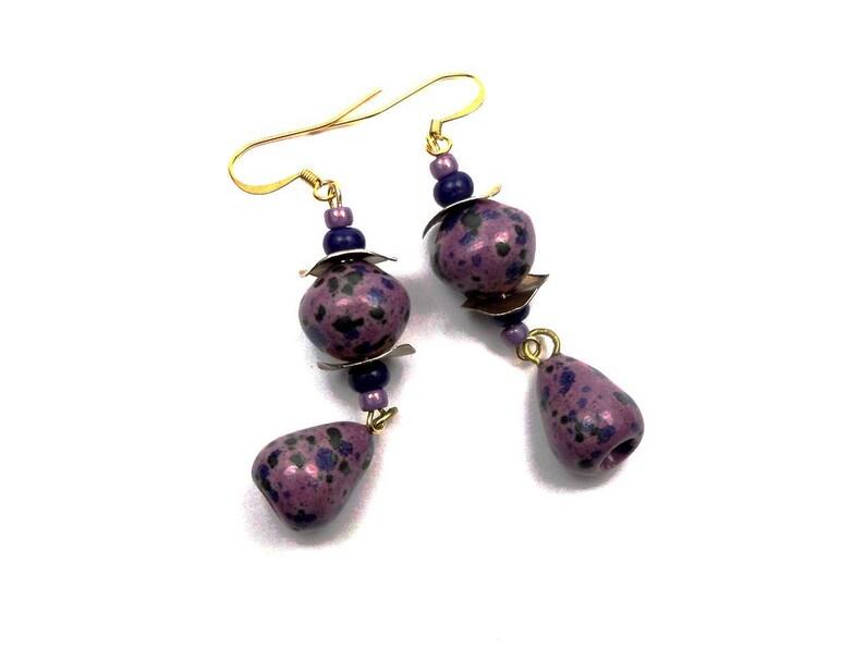 Boho ceramic purple blue glass brass earrings