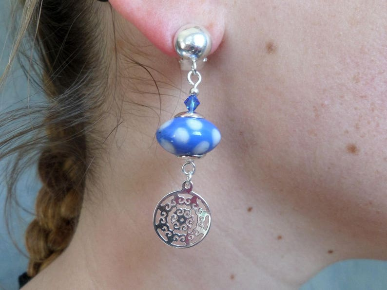 glass blue white sequins mandala Crystal Earring clips in silver Bohemian chic