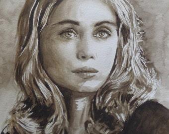 Portrait of Emmanuelle Béart, French film actress, original sepia-coloured watercolour painting
