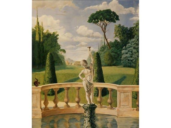 Décor mural paysage trompe-l\'oeil Jardin Toscan grand format peinture  acrylique