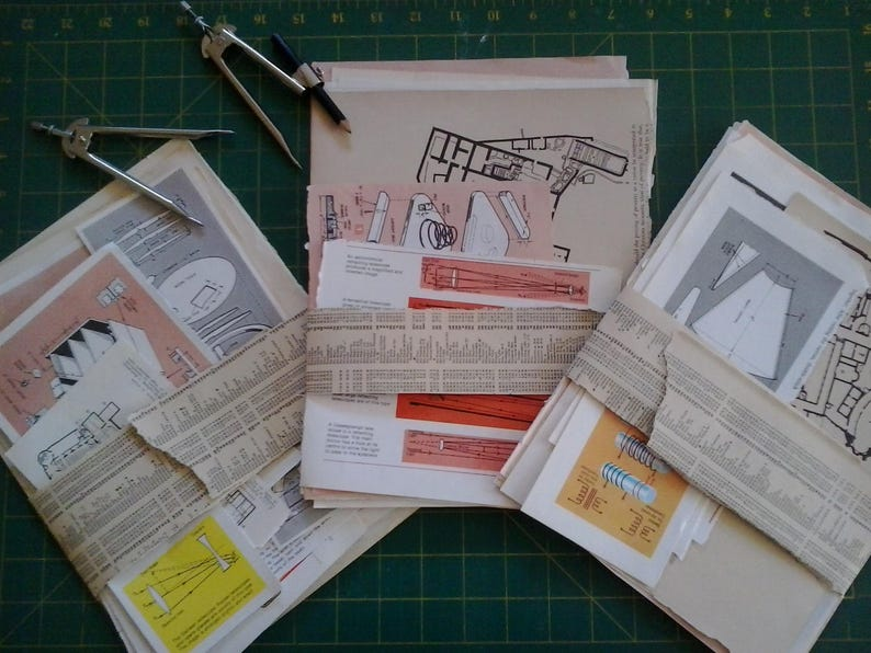 Vintage paper diagrams technical drawings plans from old books with a  science maths technology theme for mixed media art craft collage