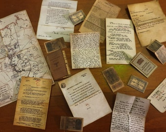 1:6 scale miniature WWII war military documents map letters reports for barbie size dolls or 12 inch action figures, room boxes & dioramas