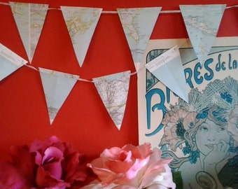 Bunting made from vintage maps & atlas pages great for bon voyage travel wedding parties or wall decoration in kids rooms