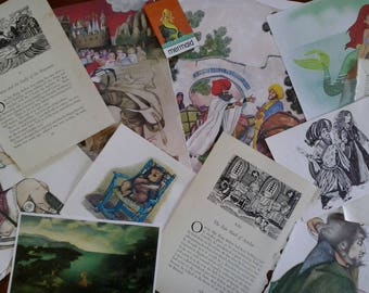 Vintage paper myths legends fairy tales theme images pictures illustrations text pages from old books for craft collage decoupage scrapbooks
