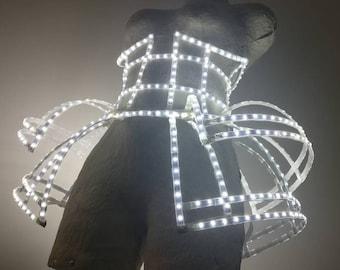 LED dress corset with headpiece barrette | Rave outfit | LED light up cage dress | Festival wear | Led show clothing - LEDCLOTHINIG.com