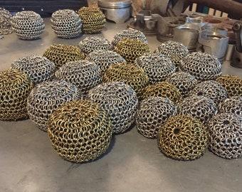 Stainless Steel Chainmail Balls Silver Gold Stress Balls Juggling Balls Hackey Sacks Pot Scrubber Balls