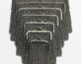 Chainmail Pouches w/ Leather Belt Straps Purses Dice Bags