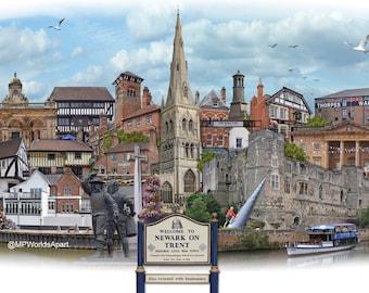 Newark-on-Trent -  'Worlds Apart' panoramic view. Newark-on-Trent, in Nottinghamshire, Skyline, England Cityscape Art Print.