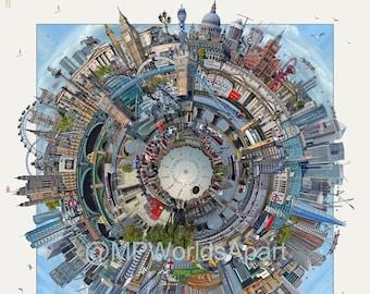 LONDON 'Worlds Apart' Print . Art Print, Travel, City Print, Wall Art Prints, London Art, Modern Art, Art, London Skyline