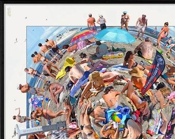 The World's A Beach. Amazing 360 degree 'worlds apart' crowded beach scene.