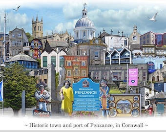 Penzance -  'Worlds Apart' panoramic view. Penzance Skyline, Cornwall, England Cityscape Art Print.