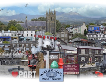 Porthmadog -  'Worlds Apart' panoramic view. The town of Porthmadog in Gwynedd North Wales . Travel Poster, , Welsh Travel Poster Wall Art