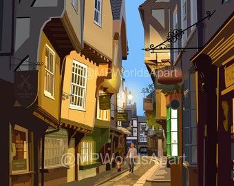 The Shambles, York. Modern travel print poster. Illustration by Mike Pratt