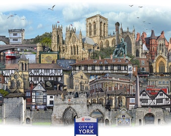 YORK -  'Worlds Apart' panoramic view. York, a cathedral city and civil parish in Yorkshire. Art print, poster, wall art.