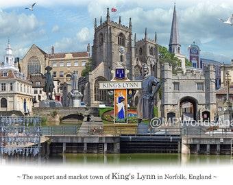 King's Lynn -  'Worlds Apart' panoramic view. King's Lynn, in Norfolk, Skyline, England Cityscape Art Print.