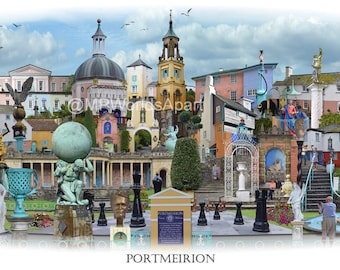 Portmeirion -  'Worlds Apart' panoramic view. The Village Portmeirion in Gwynedd North Wales . Travel Poster, , Welsh Travel Poster Wall Art