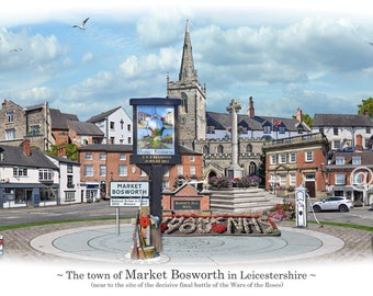 Market Bosworth -  'Worlds Apart' panoramic view. Market Bosworth Skyline, Leicestershire, England Cityscape Art Print.