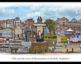 Hunstanton -  'Worlds Apart' panoramic view. Hunstanton, in Norfolk, Skyline, England Cityscape Art Print.