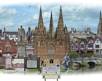 Lichfield -  'Worlds Apart' panoramic view. Lichfield, a cathedral city and civil parish in Staffordshire. Art print, poster, wall art.