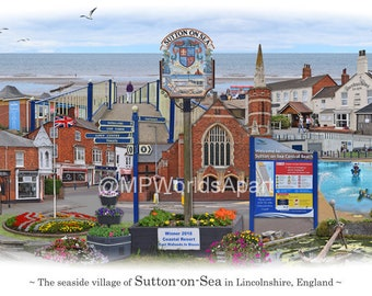 Sutton-on-Sea -  'Worlds Apart' panoramic view. Sutton-on-Sea Skyline, Lincolnshire, England Cityscape Art Print.