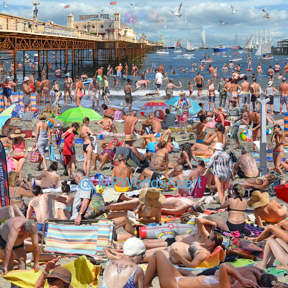 5635ce2ae A crowded Brighton Beach on a summer's day. Have someone   Etsy