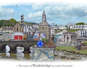 Wadebridge -  'Worlds Apart' panoramic view. Wadebridge Skyline, Cornwall, England Cityscape Art Print.
