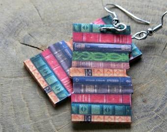 Miniature Book pile earrings, Big book pile Book spines earrings, Classic novel Earrings, Book jewelry, novel jewelry, book lover