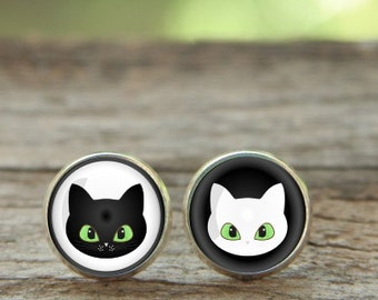 Cute Cat earrings, Black and white Earring, Cat studs, Cat face, black and white cats, Christmas Earrings, Glass Earrings, Christmas gift