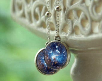 Galaxy earrings, galaxy jewelry, Blue galaxy, Blue earrings, nebula earrings, nebula jewelry, cosmic earrings, space earrings